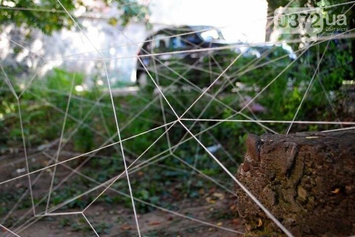 Волонтери обплели дворик на вулиці Фрідріха Кайндля у Чернівцях павутиною (фото), фото-1