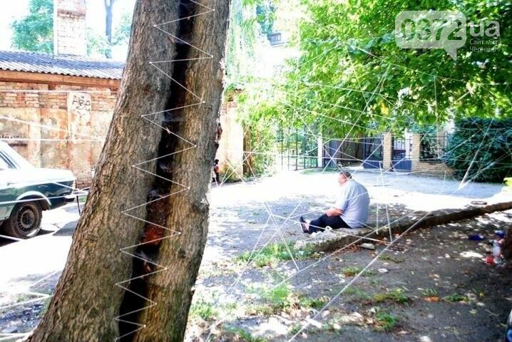 Волонтери обплели дворик на вулиці Фрідріха Кайндля у Чернівцях павутиною (фото), фото-6