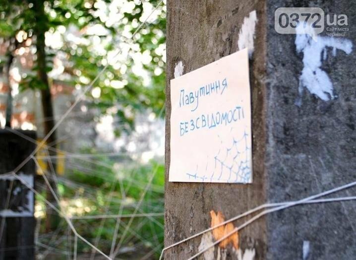 Волонтери обплели дворик на вулиці Фрідріха Кайндля у Чернівцях павутиною (фото), фото-3