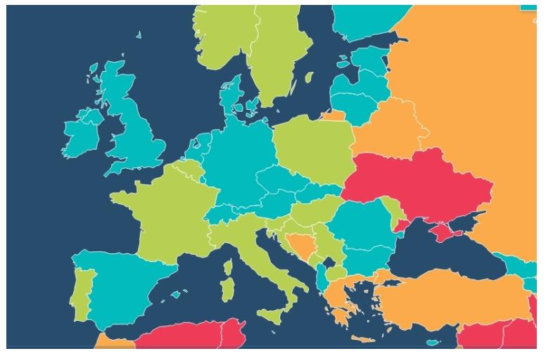 червоним позначено найбільш економічно невільні країни світу