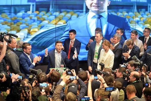 ЗеКоманда під час оголошення результатів виборів 2019 року, фото з відкритих джерел