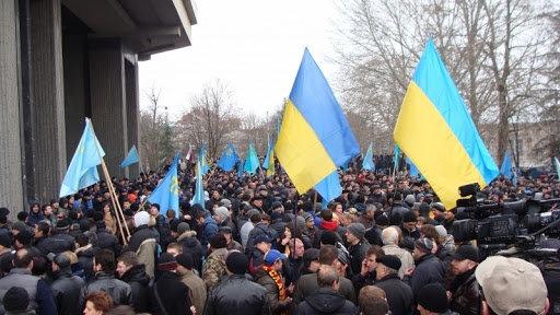 Мітинг під Верховною радою Криму, 26 лютого 2014 р.