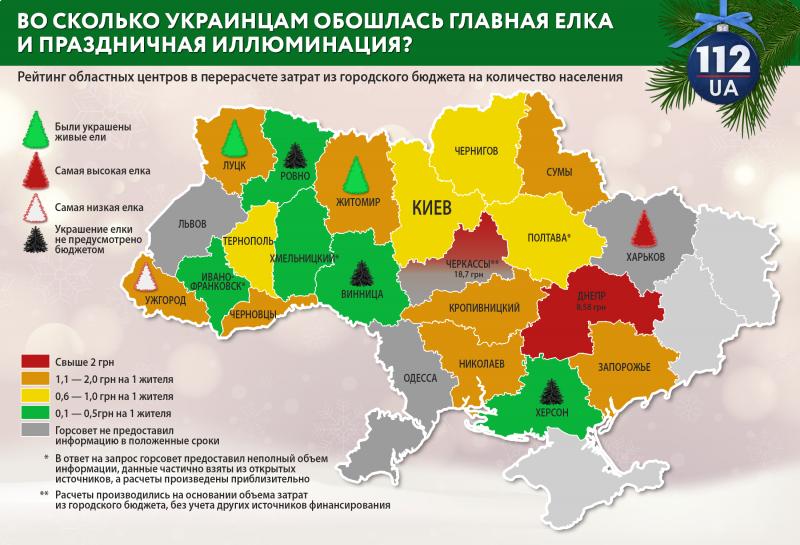 Ціни новорчісних ялинок у містах України.